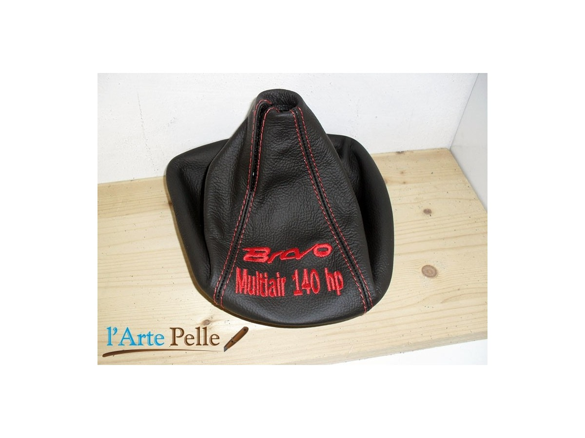 Gear Stick Gaiter Black Genuine Leather MiTo Red Embroidery