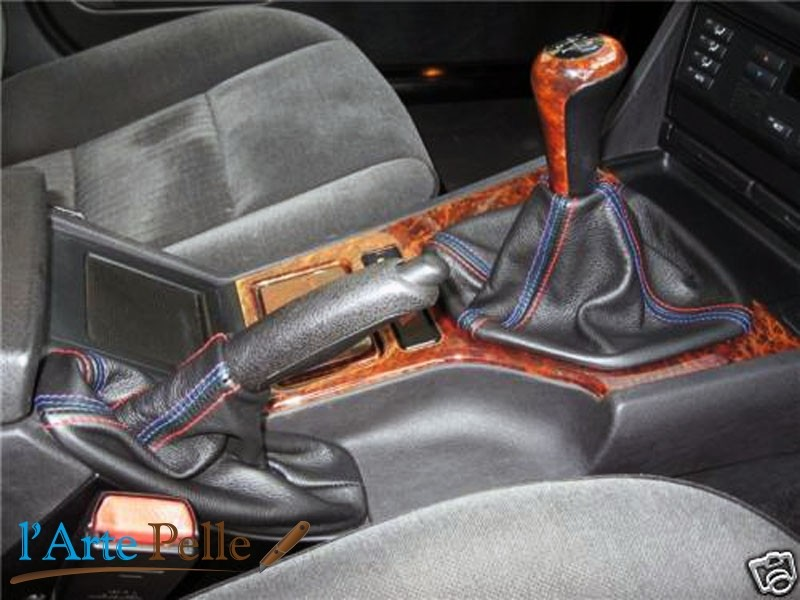 Details about Headphones gearshift lever and brake BMW Serie 5 E39 black  genuine leather