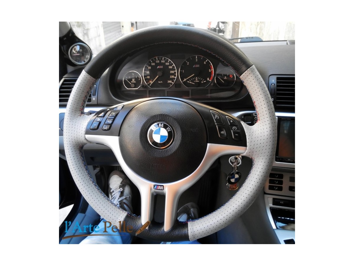 bmw e46 real black and grey leather steering wheel cover. Black Bedroom Furniture Sets. Home Design Ideas