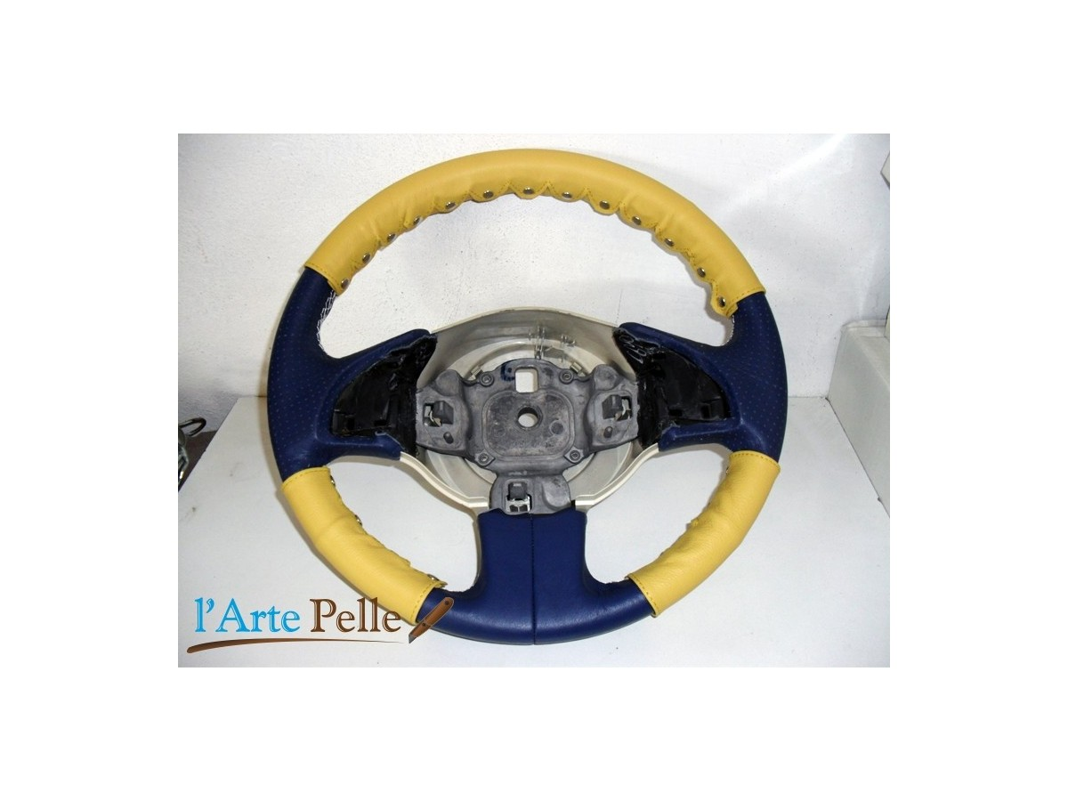 Yellow Leather Steering Wheel Cover 3 Pcs Kit New Fiat 500 Clip
