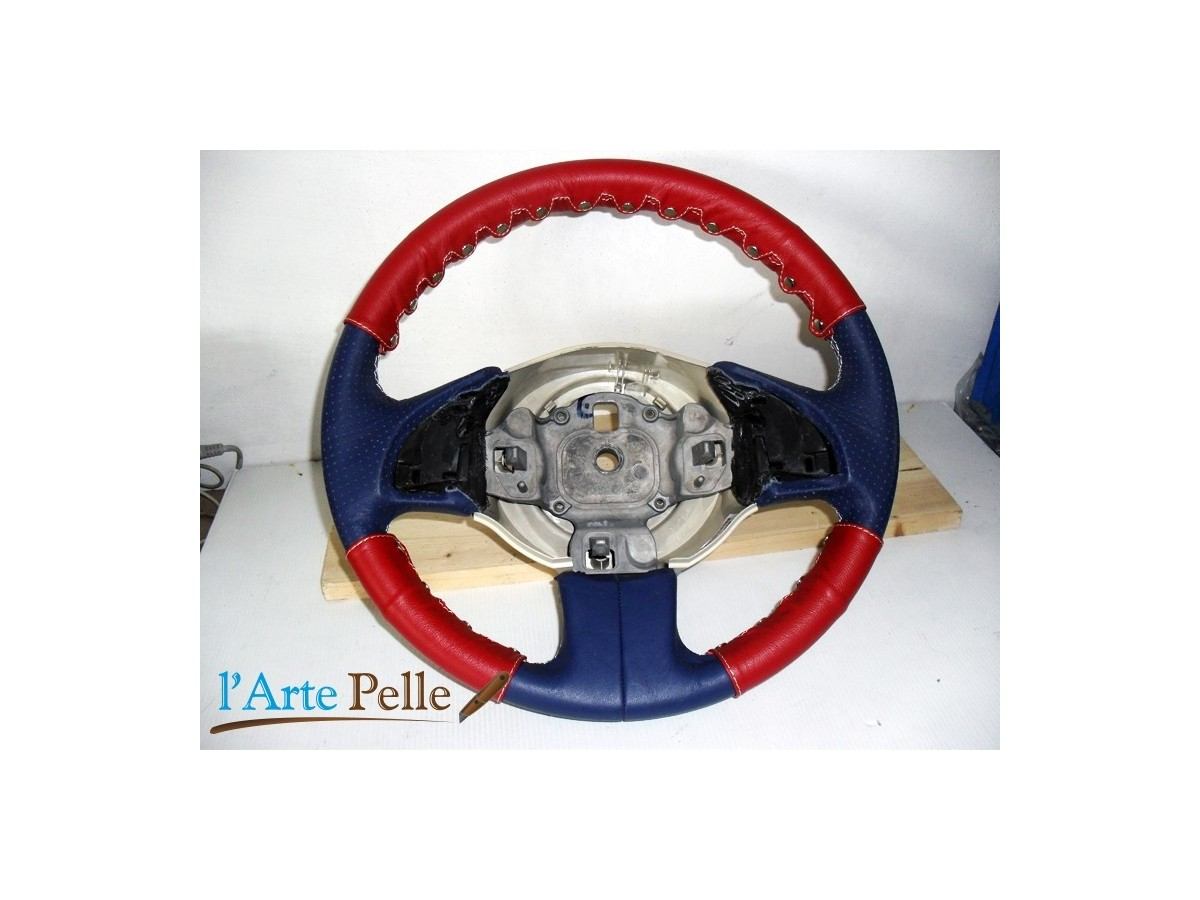 Real Red Leather Steering Wheel Cover 3 Pcs Kit New Fiat 500