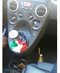 soufflet de vitesse en vrai cuir noir + drapeau italien en vrai cuir fiat panda